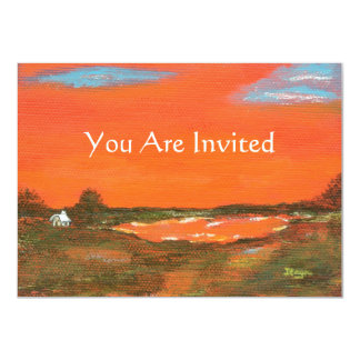 """Red Sky At Night You Are Invited Original Art 4.5"""" X 6.25"""" Invitation Card"""
