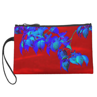 Red Sky Blue Leaves Clutch Wristlet