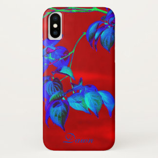 Red Sky Blue Leaves iPhone X Case