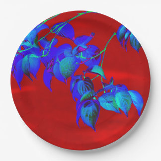Red Sky Blue Leaves Paper Plates 9 Inch Paper Plate