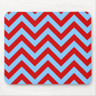 Red Sky Blue White Large Chevron ZigZag Pattern Mouse Pads