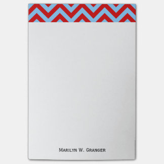 Red Sky Blue White Large Chevron ZigZag Pattern Post-it® Notes