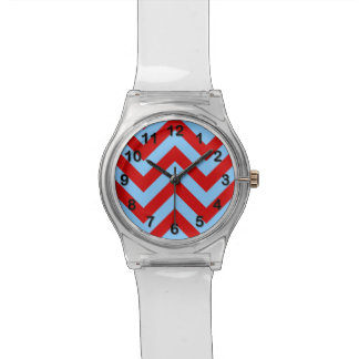 Red Sky Blue White Large Chevron ZigZag Pattern Wristwatch
