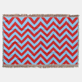 Red Sky Blue White Large Chevron ZigZag Pattern Throw Blanket