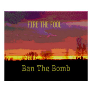 Red Skyscape #Banthebomb Political Resistance Poster