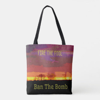 Red Skyscape #Banthebomb Political Resistance Tote Bag