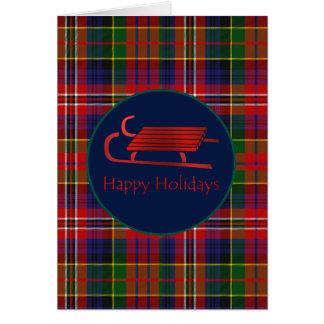 Red Sled MacPherson Plaid Christmas Greeting Card