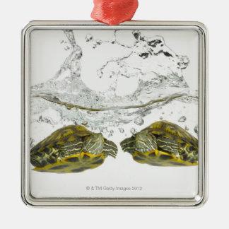 Red slider turtles metal ornament