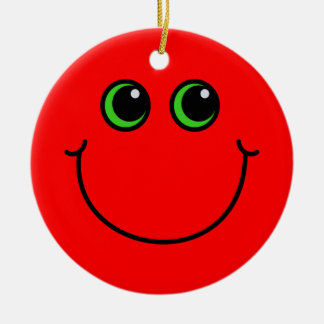Red Smiley Face Ceramic Ornament