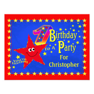 Red Smiley Star 1st Birthday Party Invitation