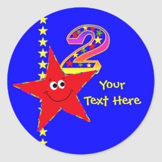 Red Smiley Star 2nd Birthday Stickers