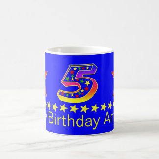 Red Smiley Star 5th Birthday Mug