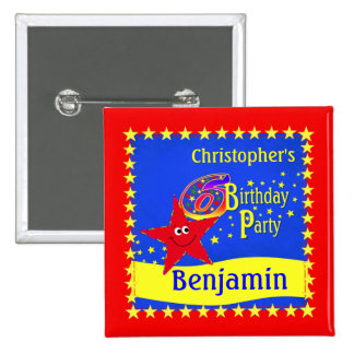 Red Smiley Star 6th Birthday Party Name Button
