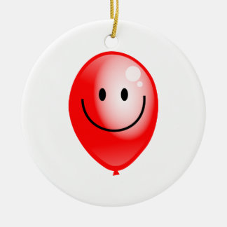 Red Smilie Balloon Ceramic Ornament