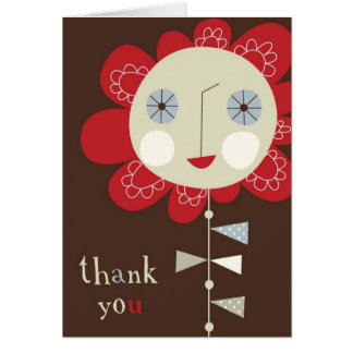 Red smiling flower note card