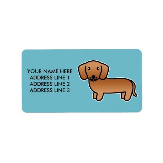 Red Smooth Coat Dachshund Cartoon Dog