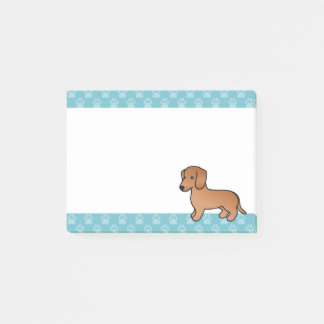 Red  Smooth Coat Dachshund Cartoon Dog Post-it Notes