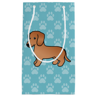 Red  Smooth Coat Dachshund Cartoon Dog Small Gift Bag