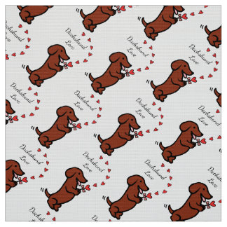 Red Smooth Dachshund Love Fabric