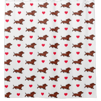 Red Smooth Dachshund Running Shower Curtain