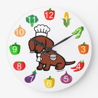 Red Smooth Haired Dachshund Chef Wallclock