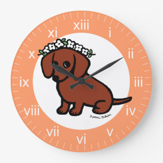 Red Smooth Haired Dachshund Flowers Large Clock