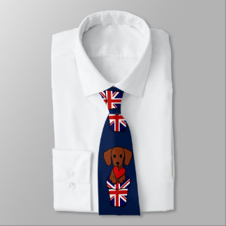 Red Smooth Haired Dachshund Union Jack Tie
