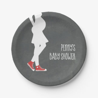 Red Sneakers Baby Bump Baby Shower Paper Plate