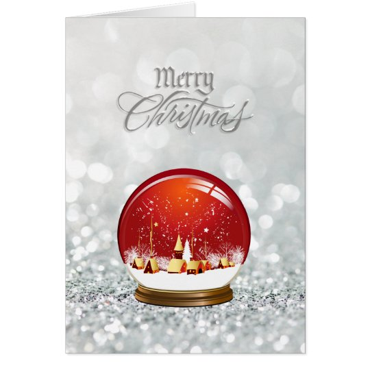 Red Snow Globe Village Merry Christmas Card
