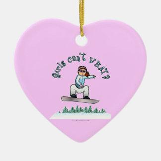 Red Snowboarder Ceramic Heart Ornament