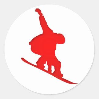 Red Snowboarder Classic Round Sticker