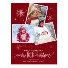 Red Snowflake | 3 Photo Christmas Postcard