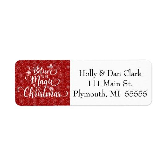 Red Snowflake Address Label