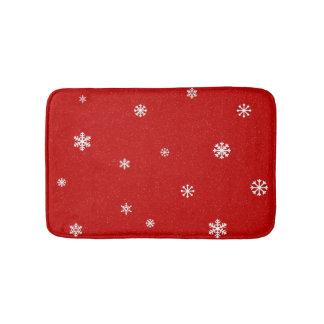 Red Snowflake Bath Mat