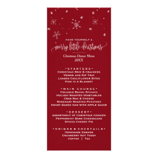 Red Snowflake Christmas Dinner Menu Card