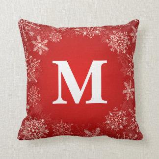 Red Snowflake Circle Monogram Throw Pillow