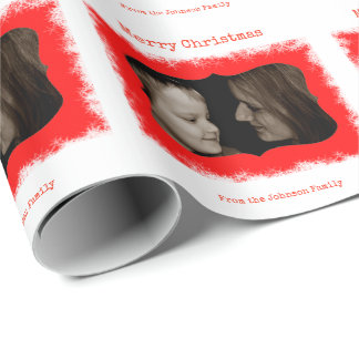 Red Snowflake Family Photo Personalized Gift Wrap