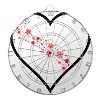 Red Snowflake Heart Dartboards