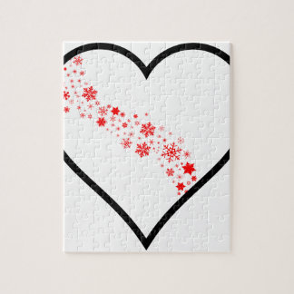 Red Snowflake Heart Jigsaw Puzzle