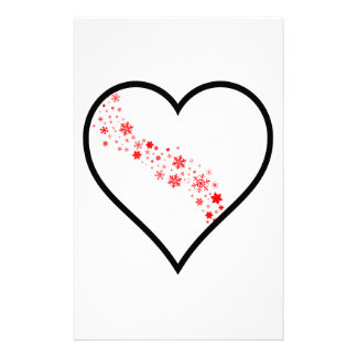 Red Snowflake Heart Stationery