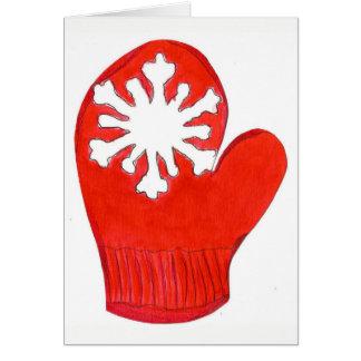 Red Snowflake Mitten Blank Card