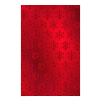 Red Snowflake Pattern Background Stationery