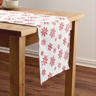Red snowflake pattern - Christmas gifts Short Table Runner