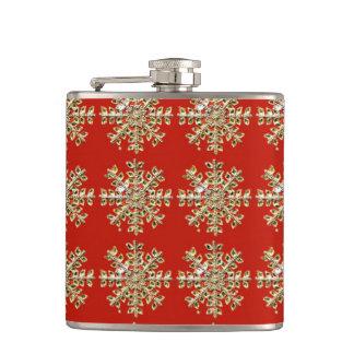 Red Snowflake Pattern Flasks