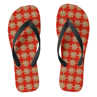 Red Snowflake Pattern Flip Flops