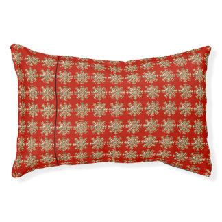Red Snowflake Pattern Pet Bed