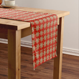 Red Snowflake Pattern Short Table Runner