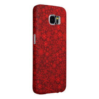 red snowflake pattern vector samsung galaxy s6 cases