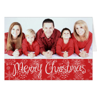 Red Snowflake Photo Christmas Card