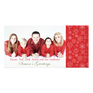 Red Snowflake Photo Christmas Card Photo Cards